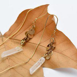 Quartz Crystal 14KGP Brass Threader Earrings